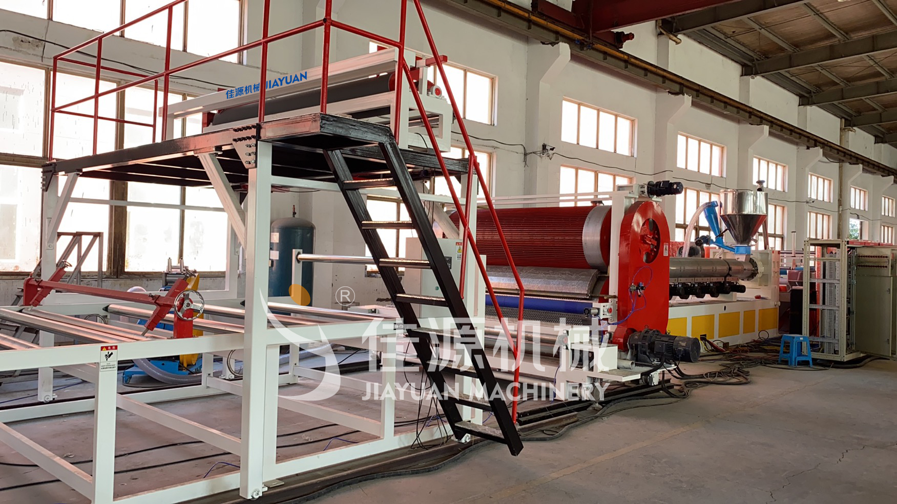 Polymer drainage board production line